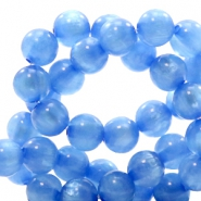 Polaris beads round 8 mm pearl shine River Blue