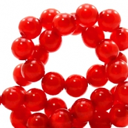Polaris beads round 6 mm pearl shine Candy Red
