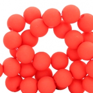 6 mm acrylic beads Deep Coral Red