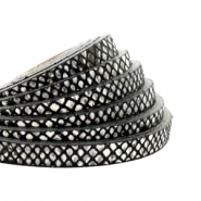 DQ European leather flat 5 mm Snake Black