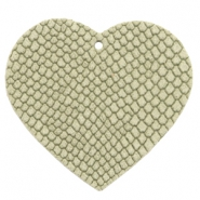 DQ European leather pendants heart Willow Green