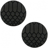 DQ European leather cabochons 12mm Onyx Black