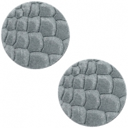 DQ European leather cabochons 12mm Grey