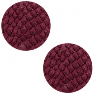 DQ European leather cabochons 20mm Light Aubergine Red