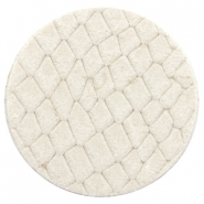 DQ European leather cabochons 35mm Off White