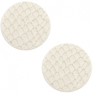 DQ European leather cabochons 20mm Off White