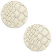 DQ European leather cabochons 12mm Off White