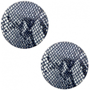 DQ European leather cabochons 12mm Snake Dark Blue