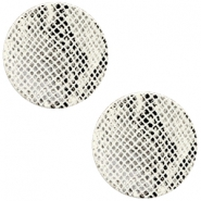 DQ European leather cabochons 12mm Snake White