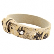 15mm leather Cuoio bracelets for 20mm cabochon Mellow Buff Beige Panther