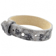 15mm leather Cuoio bracelets for 20mm cabochon Rock Ridge Grey Panther