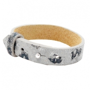 15mm leather Cuoio bracelets for 20mm cabochon Vapor Grey Panther