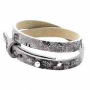 Cuoio bracelets leather 8mm double for 12mm cabochon Rock Ridge Grey Panther