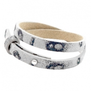 Cuoio bracelets leather 8mm double for 12mm cabochon Vapor Grey Panther