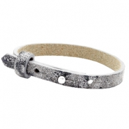 Cuoio bracelets leather 8mm for 12mm cabochon Rock Ridge Grey Panther