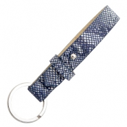 Cuoio key chain 15mm Snake Dark Blue