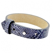 15mm leather Cuoio bracelets for 20mm cabochon Snake Dark Blue
