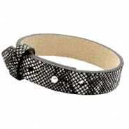 15mm leather Cuoio bracelets for 20mm cabochon Snake Black