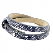 Cuoio bracelets leather 8mm double for 12mm cabochon Snake Dark Blue