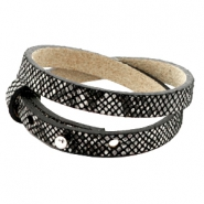 Cuoio bracelets leather 8mm double for 12mm cabochon Snake Black