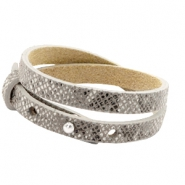 Cuoio bracelets leather 8mm double for 12mm cabochon Snake Grey