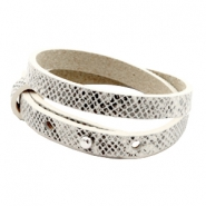 Cuoio bracelets leather 8mm double for 12mm cabochon Snake White