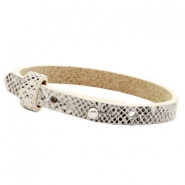 Cuoio bracelets leather 8mm for 12mm cabochon Snake White