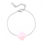 Stainless steel bracelets Sisa with fashion faceted clover Pink Opal
