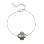 Stainless steel bracelets Sisa with fashion faceted clover Grey