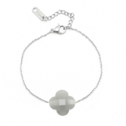 Stainless steel bracelets Sisa with fashion faceted clover Light Grey