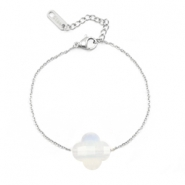 Stainless steel bracelets Sisa with fashion faceted clover White Opal