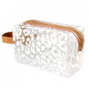 Make-up bag leopard Transparent-White