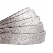 10 mm flat faux leather Metallic-Medium Grey