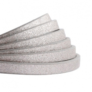 5 mm flat faux leather Metallic-Medium Grey