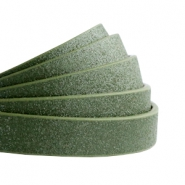 10 mm flat faux leather Metallic-Dark Army Green
