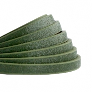 5 mm flat faux leather Metallic-Dark Army Green