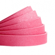 10 mm flt faux leather Metallic-Rose Red