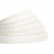 5 mm flat faux leather Metallic-Off White