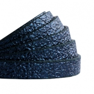 10 mm flat faux leather Metallic-Dark Aegean Blue