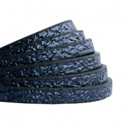 5 mm flat faux leather Metallic-Dark Aegean Blue
