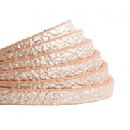 5 mm flat faux leather Metallic-Rosegold Light Brown