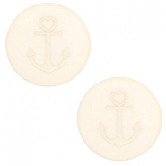 20 mm flat Polaris Elements cabochon Anchor Cloud Cream White