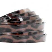 5 mm flat faux leather leopard print Chocolate Brown
