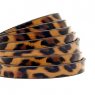 5 mm flat faux leather leopard print Honey Brown