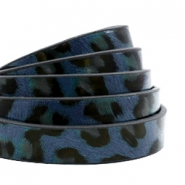 10 mm flat faux leather leopard print Dark Blue