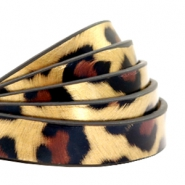 10 mm flat faux leather leopard print Gold
