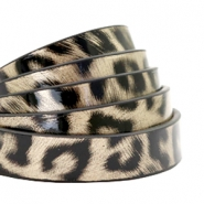 10 mm flat faux leather leopard print Champagne Gold