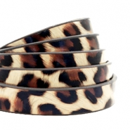 10 mm flat faux leather leopard print Beige