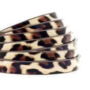 5 mm flat faux leather leopard print Beige