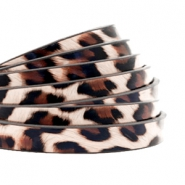 5 mm flat faux leather leopard print Vintage Pink